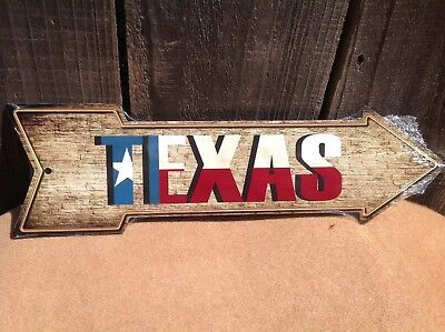 "Texas State Flag This Way To Arrow Sign Directional Novelty Metal 17/"" x 5/"""