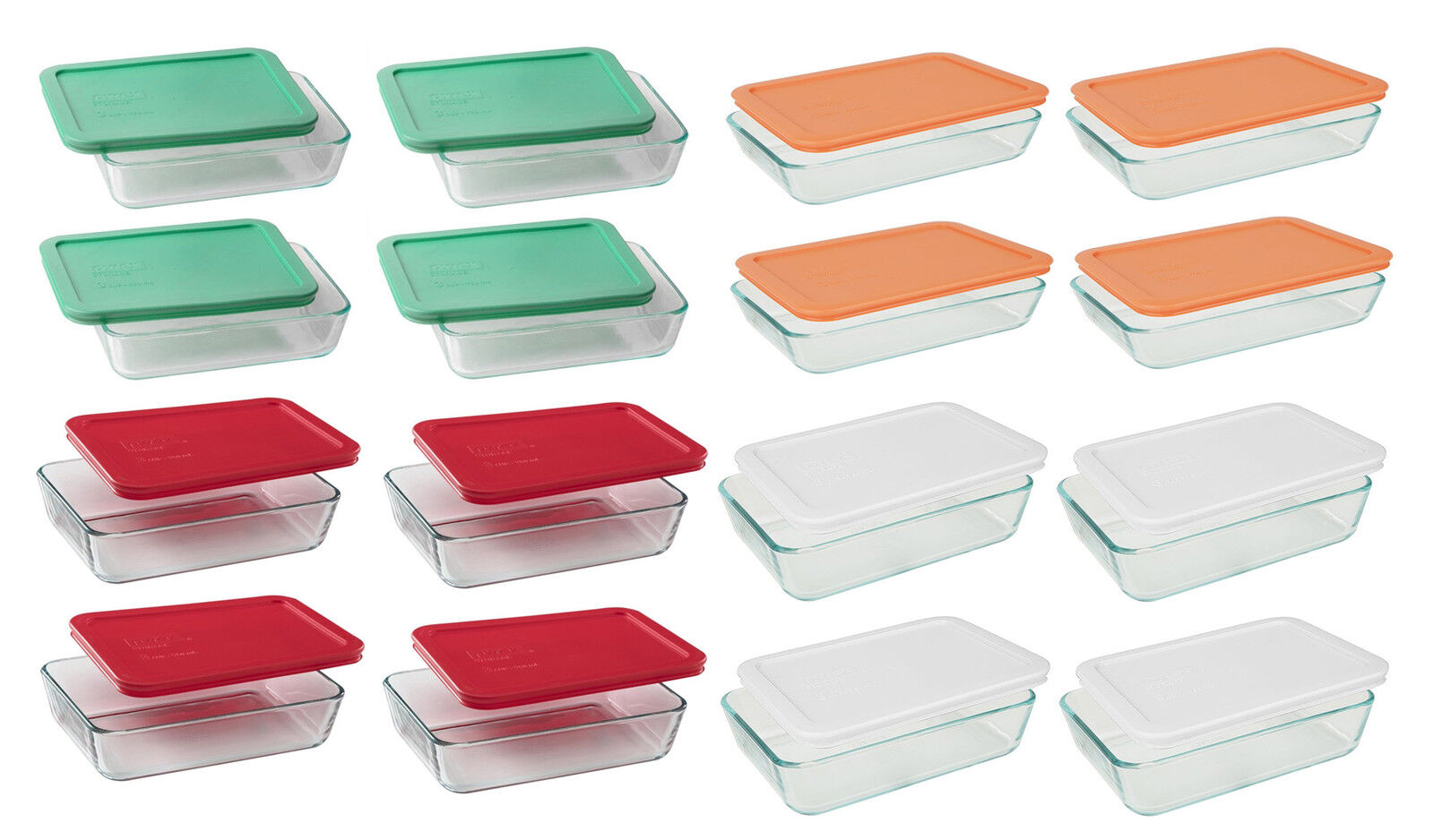 Pyrex 3 6 Cup Rectangle Glass Food Storage Containers