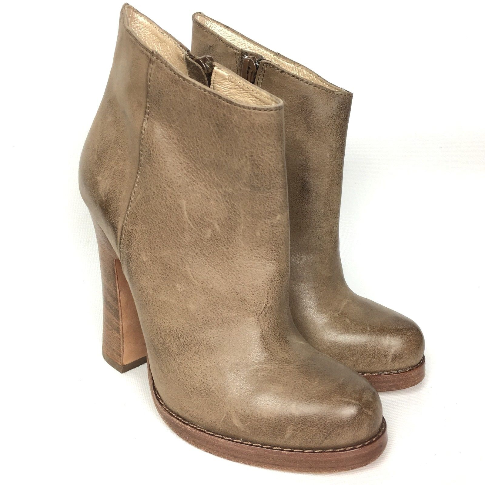 Jean-Michel Cazabat Leather Ankle Boots shoes Zip Heeled Sz 5 35
