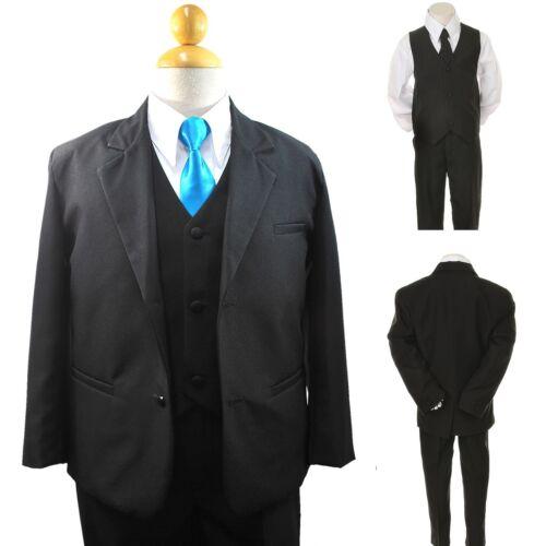 New Boy Toddler Kid Formal Wedding Tuxedo Suit Vest Turquoise Tie 6PC Set 5-14