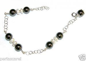 Armband-Silber-Sterling-925-mit-Perlas-kultiviert-und-Haematit-8-mm-Anhaenger