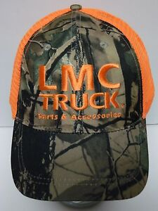 Details about LMC TRUCK PART ACCESSORIES Long Motor HUNTING CAMOUFLAGE  ORANGE SNAPBACK HAT CAP