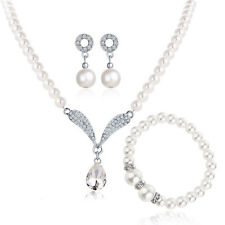 White Pearls Ivory Wedding Bridal Jewellery Set Earrings Necklace Bracelet S940