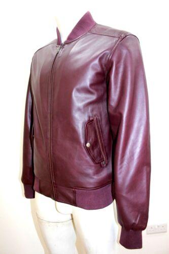 "NUOVO Craig 80/""s Uomo Classico Stile Bomber AMARANTO ROSSO Morbido Napa leather jacket"