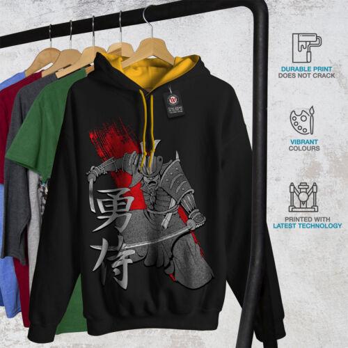 Wellcoda Ancient Katana Art Mens Contrast Hoodie Warrior Casual Jumper