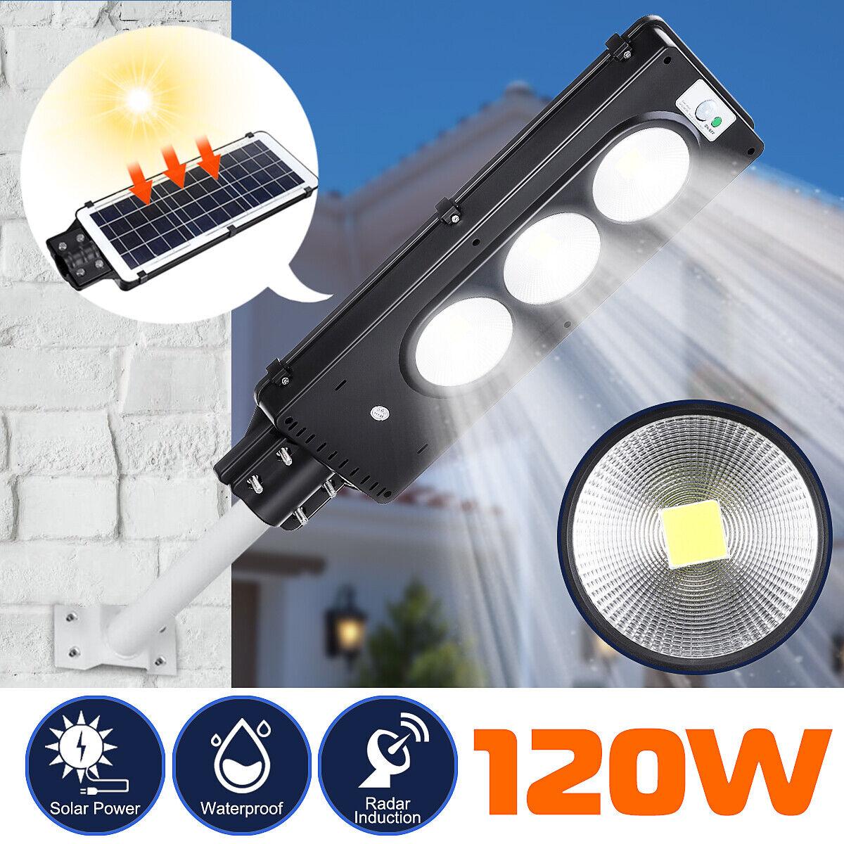 120W COB LED Solar Street Light PIR Motion Sensor Outdoor Garden Path Wall Lamp