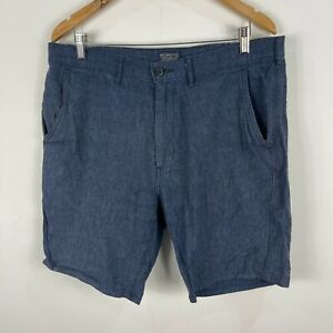 Levis-Mens-Shorts-Size-34-Blue-Linen-Blend-Pockets-Chino