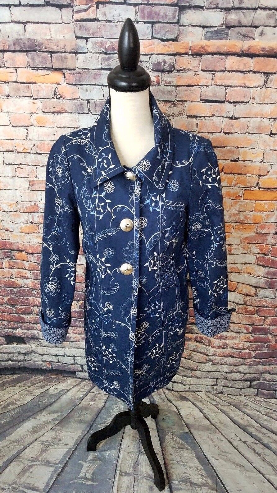 NWOT W Worth Women's Navy FLIP CUFFS Floral EMBROIDERY Cotton Trench Coat Sz PP