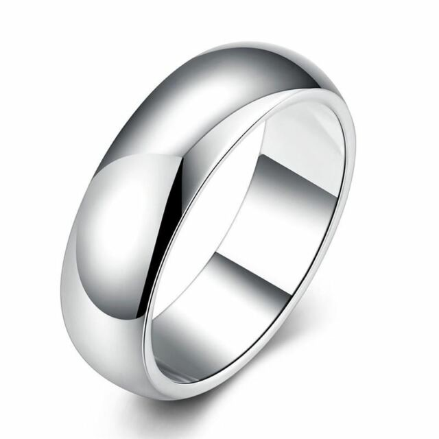 925 Silver Plt Mens Ladies Simple Plain Band Ring Wedding