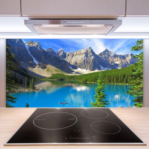 Crédence de cuisine en verre Panneau Paroi 100x50 Paysage Lac Montagnes Forêt