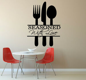 Kitchen Wall Art Seasoned With Love In Cutlery Wall Art Vinyl Sticker Decal Ebay