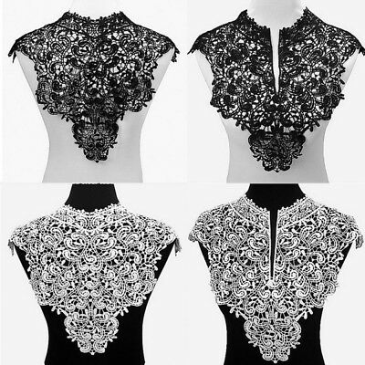 Black A Embroidered Floral Lace Neckline Neck Collar Trim Clothes Sewing Applique Edge