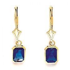 14K Yellow Gold Sapphire September Birthstone Dangle Leverback Earrings ER-L32-9
