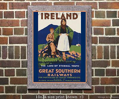 Vintage Irish Travel Poster Ireland #1 4 sizes, matte+glossy avail