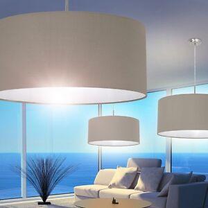 pendellampe schirm h ngeleuchte esszimmer leuchten wohn zimmer lampe stoff taupe ebay. Black Bedroom Furniture Sets. Home Design Ideas