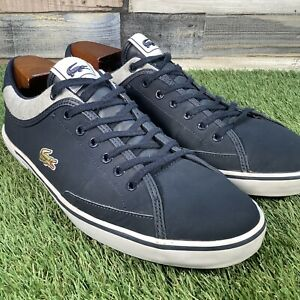 UK8-5-Lacoste-Angha-Navy-Low-Top-Retro-Tennis-Style-Trainers-Plimsole-EU42-5