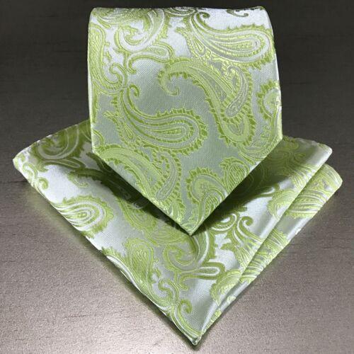 New Men/'s Lime Green Neck tie and Pocket Square Hankie Set Formal Wedding 600-L