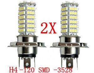 2x-Lampara-Bombillas-H4-120-LED-3528-SMD-Luz-Blanca-Pura-Coche-DC-12V-calida
