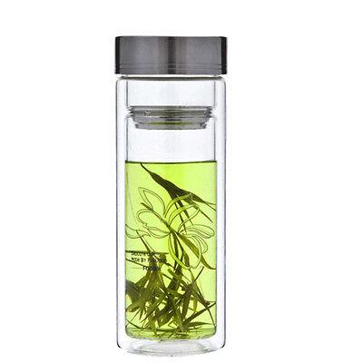 Airtight Double Wall Glass Thermos Flask Perfect Travel Mug tea cup 280ml