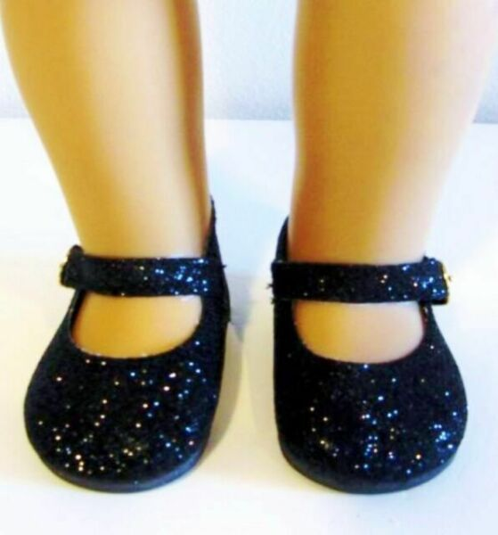 """Skulls /& Hearts Black Mary Janes Shoes fit 18/"""" American Girl Size Doll"""