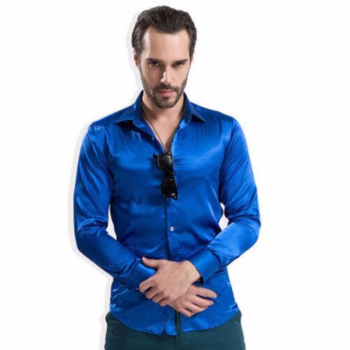 1X Men Faux Silk Satin Shirt Casual Top Long Sleeve Blouse Club Wear Shiny Red