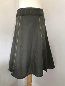 Ladies-FAT-FACE-Olive-Green-Cotton-Linen-Skirt-Summer-8-10