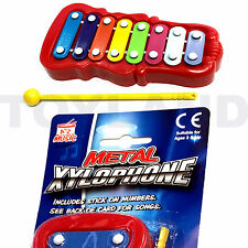 CHILDRENS COLOURFUL METAL XYLOPHONE & BEATER MUSIC INSTRUMENT TOY GLOCKENSPIEL