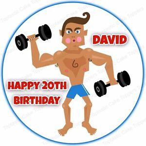 Awesome Personalised Gym Fitness Muscle Man Bodybuilding Edible Icing Cake Personalised Birthday Cards Xaembasilily Jamesorg