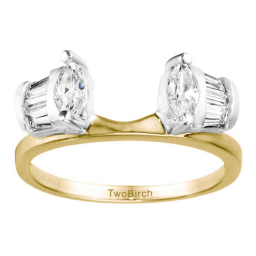 Cubic Zirconia in Sterling Silver Fancy Style Anniversary Ring Wrap 1ct