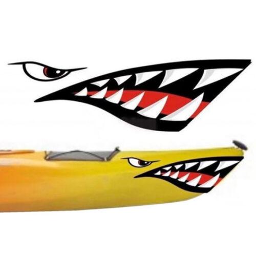 2x Car boat kayak shark teeth mouth eyes vinyl waterproof decal funny stickers I
