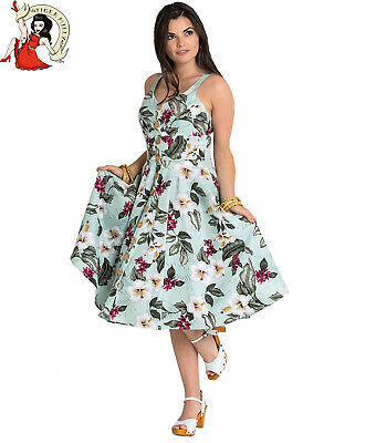 Hell Bunny Tahiti Tropical Floral 50s Vintage Rockabilly Flare Swing Party Dress