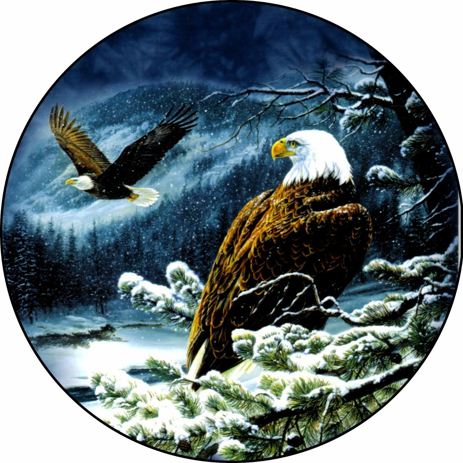 Eagle Eagles Snow Spare Tire Cover  Jeep RV camper & more(all sizes available)  designer online