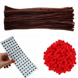 392pcs-Brown-Pipe-Cleaners-x-100-ROUGE-POMPONS-12-mm-x-100-10-mm-yeux-doux-X-192