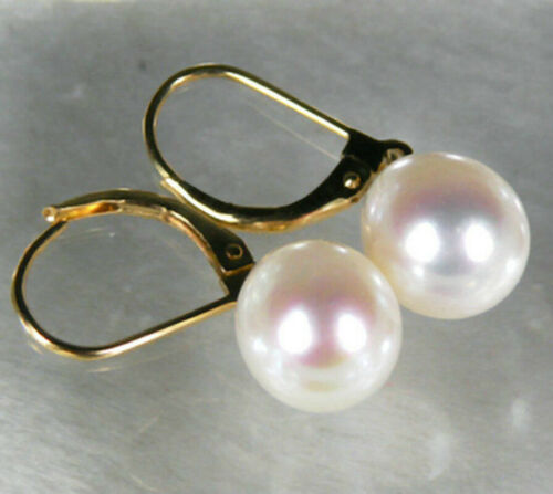 10 mm 12 mm blanc Akoya Shell Pearl PERLES rondes 14K plaqué or Crochet Dangle Boucles d/'oreilles AAA