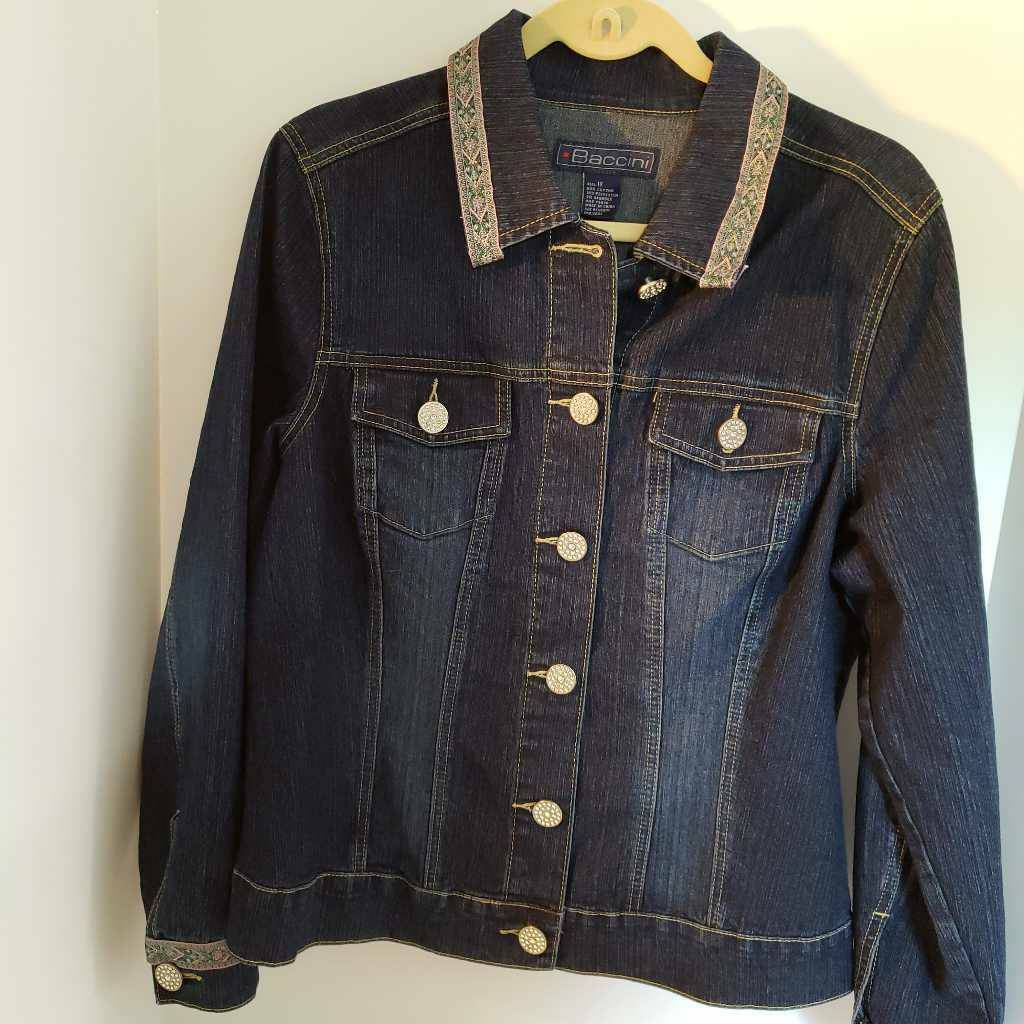 BACCINI Womens Jean Jacket Blue Rhinestone Button Up Embroidered Stretch Plus 1X