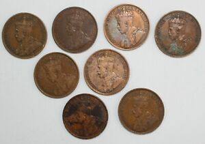 8-Coin-Lot-1916-1919-Canada-Large-Cent-Bronze-Coins-Avg-Circulated-1c-Canadian