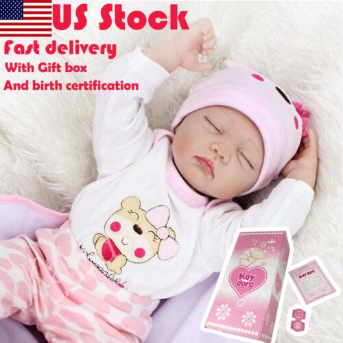 "22/"" Reborn Baby Dolls Newborn Lifelike Vinyl Silicone doll Sleeping Girl Toy New"