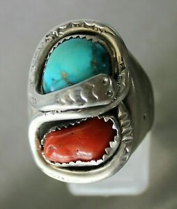 Men/'s Coral and Turquoise Sterling Silver Ring