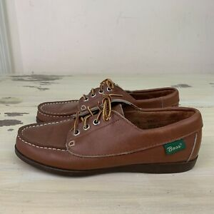BASS-Vtg-80s-90s-Classic-Brown-Leather-Boat-Shoes-Boaters-Womens-7-M