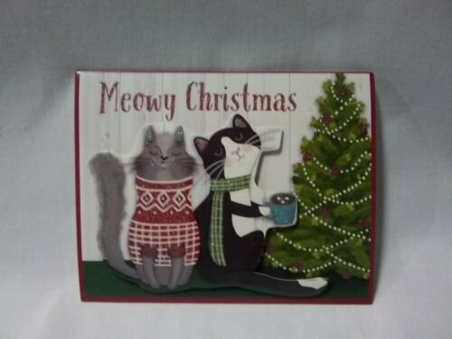 """New in box /""""Meowy Christmas/"""" 18 holiday cards and envelopes"""