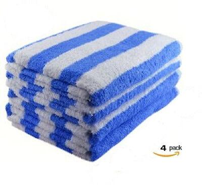 NEW WHITE/ BLUE COTTON HOTEL  30X60 CABANA TOWELS POOL TOWEL BEACH TOWEL 15#