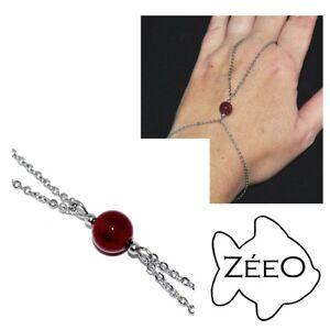 ZEEO-Chaine-de-main-bracelet-bague-acier-argente-perle-Cornaline-bijou