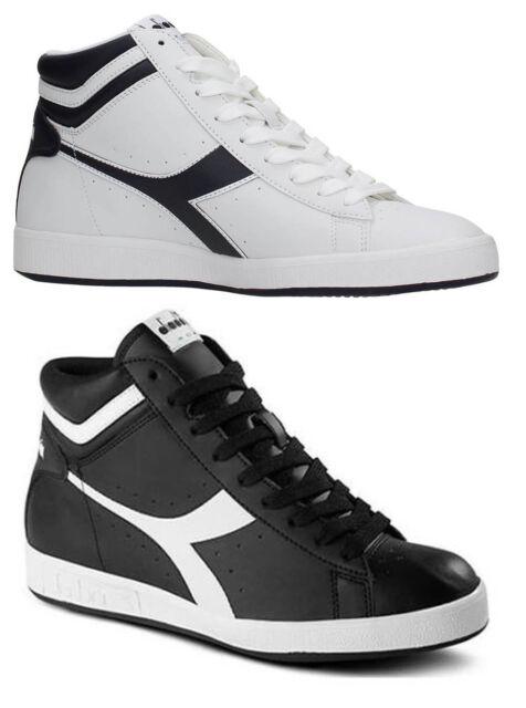 DIADORA GAME P HIGH scarpe uomo donna sneakers alte stan pelle casual smith  nero 5958e7e0584