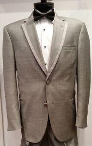 Mens Grey Gray Piped Satin Edge Notch Lapel Tuxedo Jacket Calvin Klein