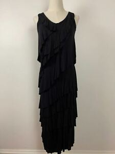 Blue Illusion Womens Black V Neck Layered Ruffle Sleeveless Dress Size XS A18