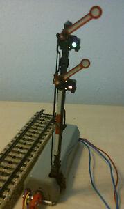 Marklin-H0-7041-Signal-principal-2-decouple-Aile-illumine-bon