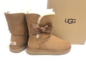 c48e91b1869 Details about UGG Australia Women's DAELYNN Chestnut 1019983 Sheepskin  Suede Bow Ankle Boots