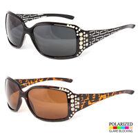 NEW Polarized Women's Sunglasses RHINESTONE Fashion Eyewear Black Brown Shades t
