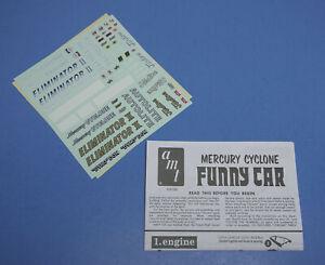 Decals /& Instructions 1//25 AMT 1967 Mercury Cyclone Eliminator II Funny Car