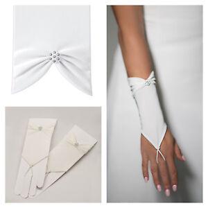 Brauthandschuhe-fingerlos-Braut-Handschuhe-Perlen-Hochzeit-Creme-Ivory-Satin